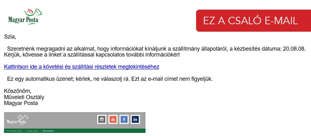 Legyen óvatos, ha nemvárt e-mailt kap a Magyar Postától